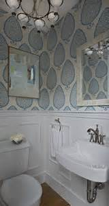 Wallpaper In Powder Room Powder Room With Wainscoting Transitional Bathroom
