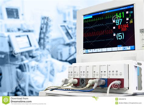 Monitor Icu electrocardiogram monitor in icu stock photography cartoondealer 52373894