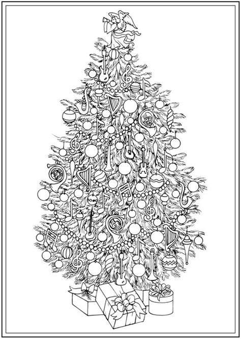 detailed christmas tree coloring pages welcome to dover publications ch christmas trees adult
