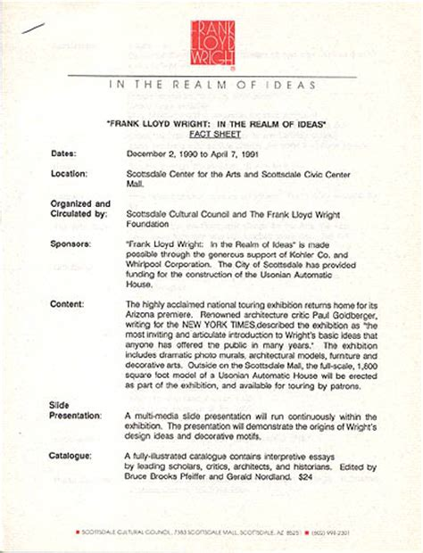 Pr Fact Sheet Template by Frank Lloyd Wright