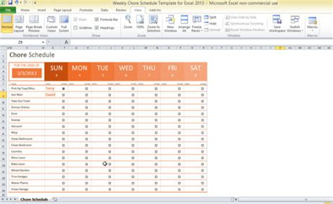 Weekly Chore Schedule Template For Excel 2013 Monthly Chore Chart Template Excel