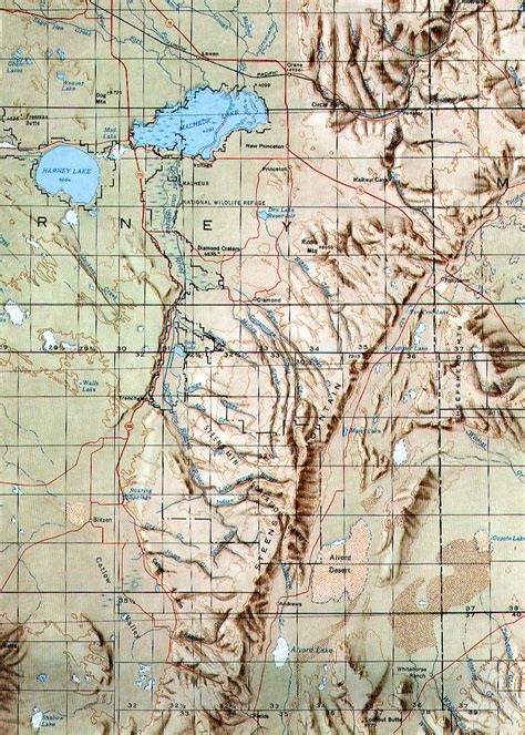 mountains oregon map steens mountain topo map steens mountain oregon mappery