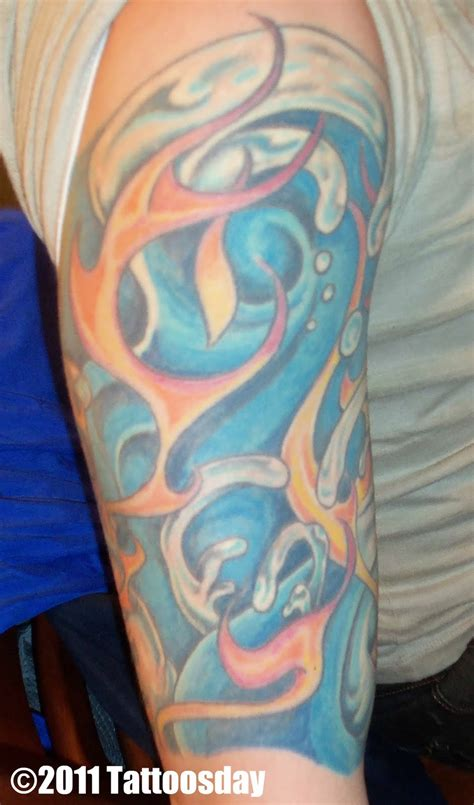 fire and water tattoo tattoosday a vaughn s elemental sleeve