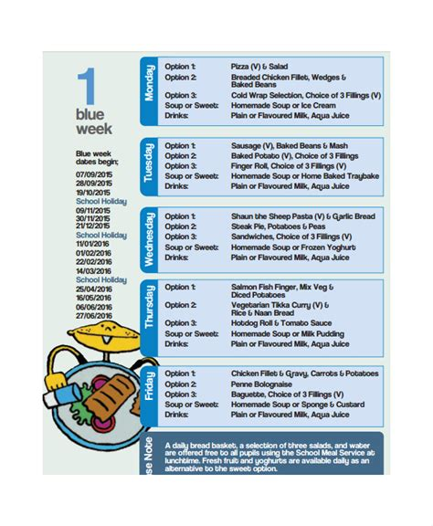 9 School Menu Templates Sle Templates Free School Menu Templates