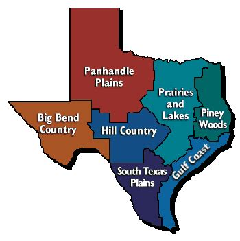 4 regions of texas map map of texas regions tour texas