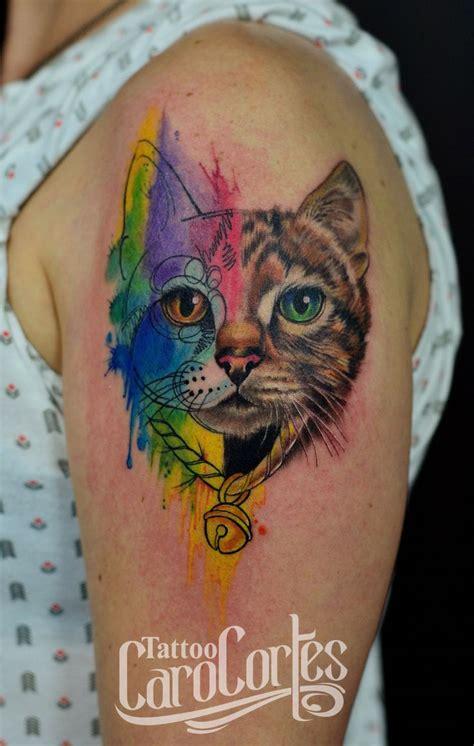 tattoo cat facebook realism watercolor cat gato realista y acuarelado caro