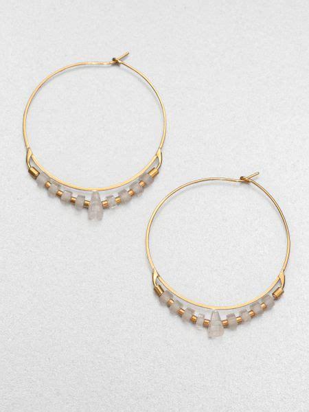michael kors clear quartz beaded hoop earrings in gold lyst