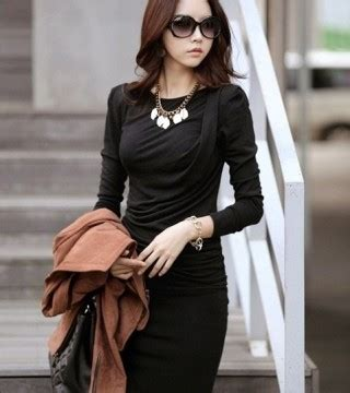 Tas Tenteng Bahu Hitam Wanita Korea Impor Fashion Jalan Kulit Pu Modis dress korea hitam panjang selutut model terbaru jual