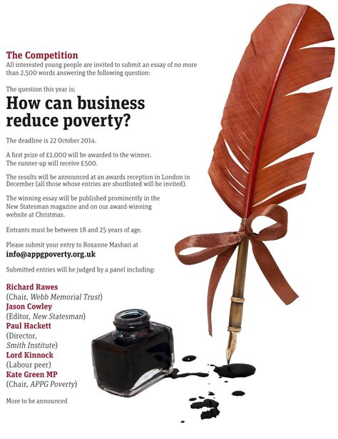 Geoffrey Memorial Essay Competition by 2014 New Statesman Webb Memorial Trust Essay Competition How Can Business Reduce Poverty