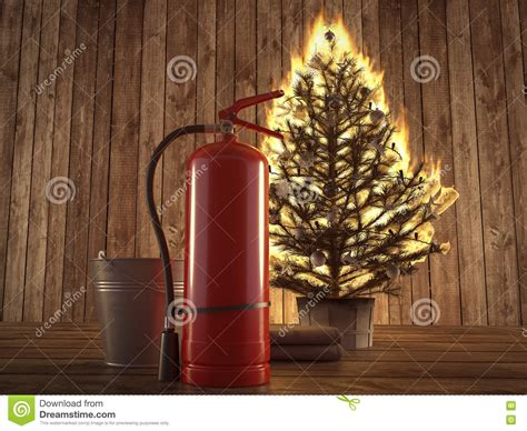 burning christmas tree with extinguisher and bucket beside