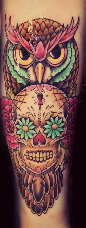 owl and sugar skull tattoo owl sugar skull