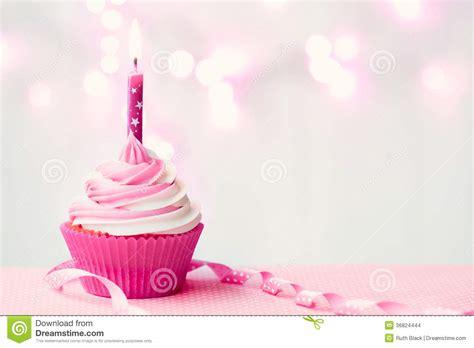 pink birthday cupcake stock photo image  cakes lights