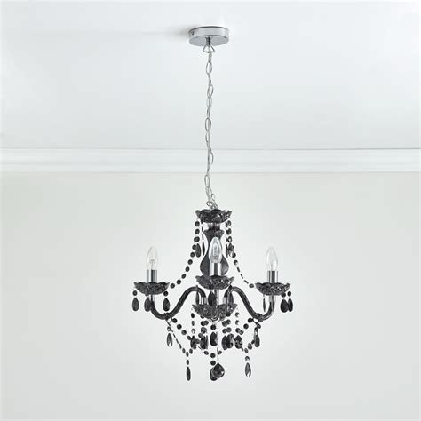 Black 3 Light Chandelier Wilko Therese Chandelier 3 Arm Black At Wilko