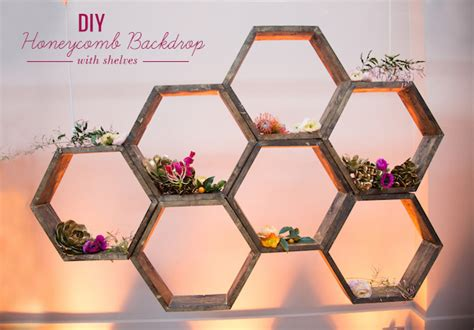 diy honeycomb backdrop with shelves green wedding shoes