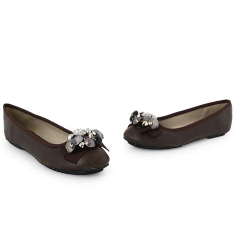 womens brown faux leather embellished formal flat