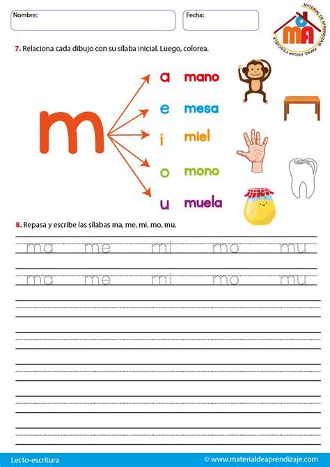 la letra m m la letra m lecto escritura material de aprendizaje