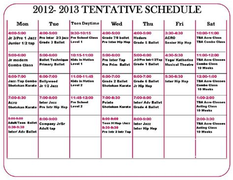 tentative schedule template
