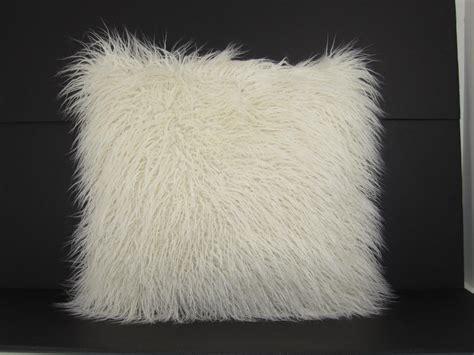 faux fur mongolian pillow white