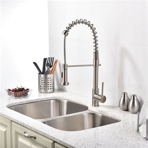 brushed nickel kitchen sink faucet with pull sprayer