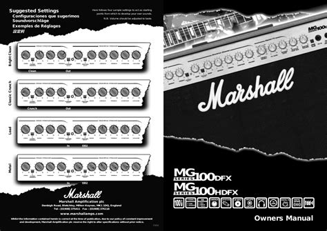Suggested Settings Owners Manual Hdfx Marshall