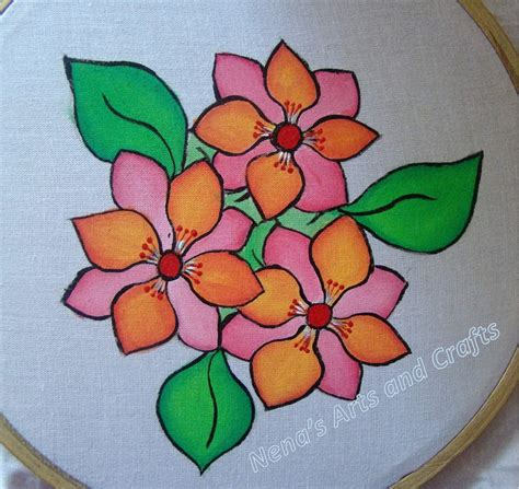 Painted Flower fabric painted flowers drawing photos glass painting