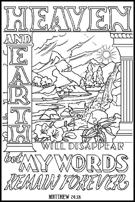 christian word coloring pages bible words to color matthew 24 38