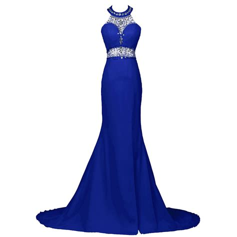 royal blue formal dresses beaded halter trumpet prom dress royal blue sequins low back prom dress front split