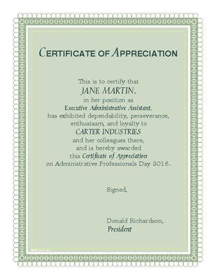 Administrative Day Card Template by In Appreciation Certificate Administrative Professionals