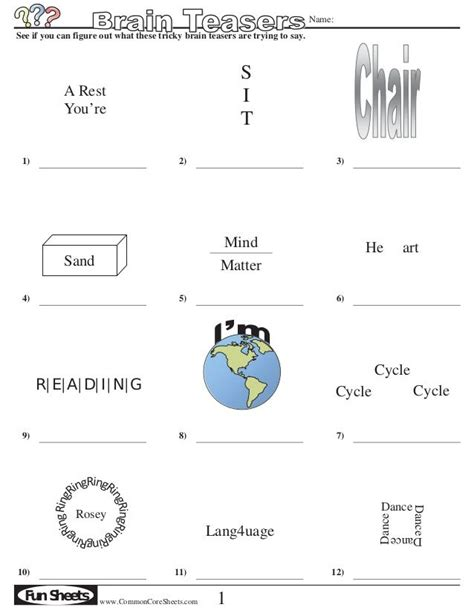 Printable Brain Teasers For Middle School