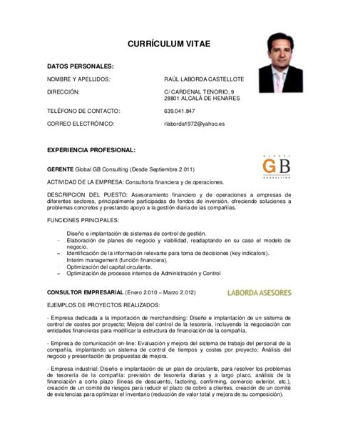 Modelo Curriculum Director Financiero Cv Ra 250 L Laborda