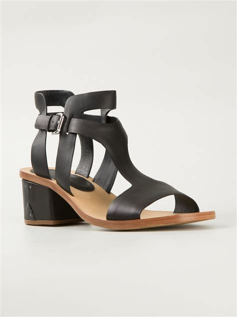 chunky heel sandals roberto carlo low chunky heel sandals in black lyst