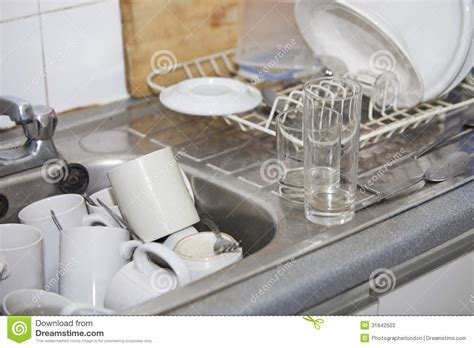 Washing up In Office Kitchen Sink Stock Image   Image