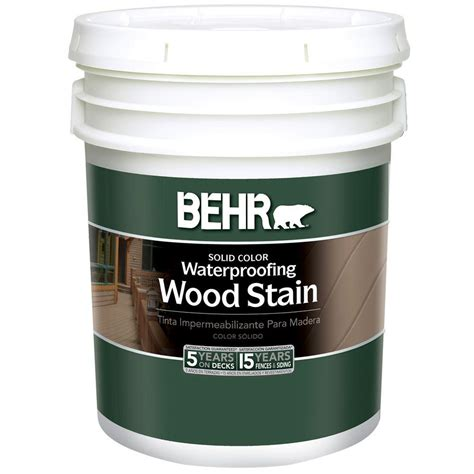 behr 5 gal white solid color waterproofing wood stain