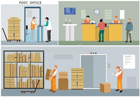 Post Office Help Desk Flat Design Of Post Office Service Office Workers Postmen Interior Actions And