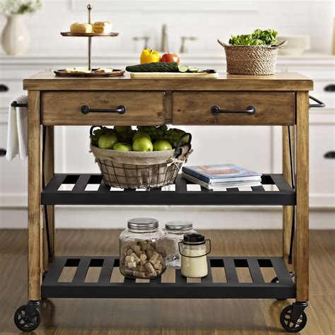 kitchen cart island crosley roots rack kitchen cart with wood top reviews