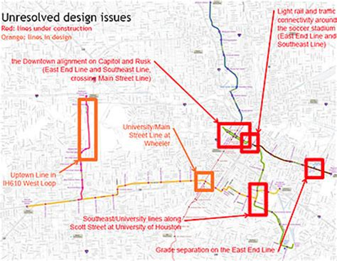 houston metrorail map expansion map showing unresolved design issues from light rail