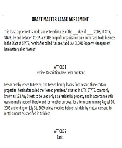 master lease agreement template 7 master lease agreement sle exles in word pdf