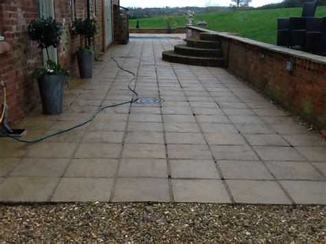 Cleaning Patio by Large Sandstone Patio And Swimming Pool Area Cleaned In