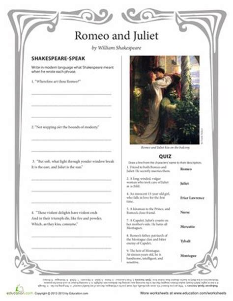 themes of romeo and juliet worksheet home school romeo and juliet on pinterest romeo and