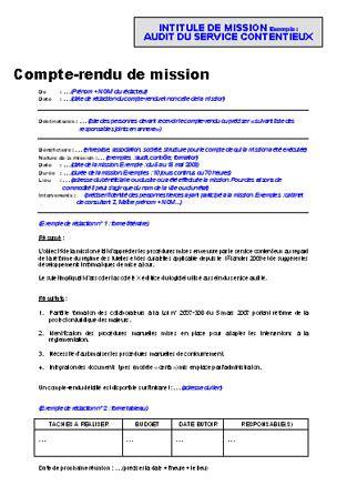 Modèles De Lettre De Compte Rendu Compte Rendu De Mission Modele Lettre