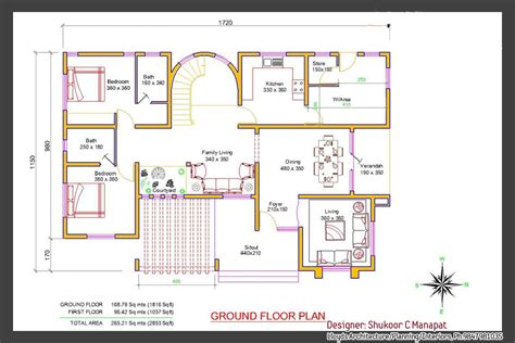 4 bed house plans indian model