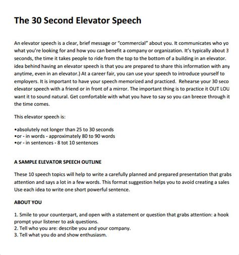 30 second pitch template sle elevator pitch exle 6 documents in pdf