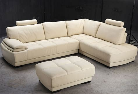 L Shaped Beige Leather Couch With Extra Comfortable Back L Shaped Leather Sofa