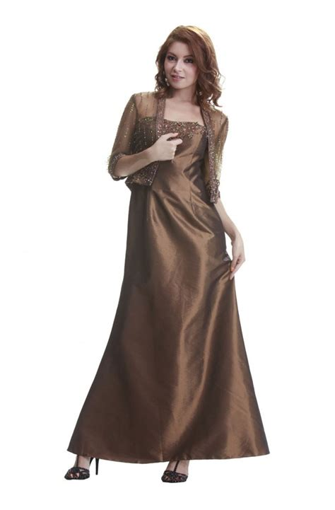 beaded bolero jackets for evening dresses fitted a line brown taffeta beaded evening dress
