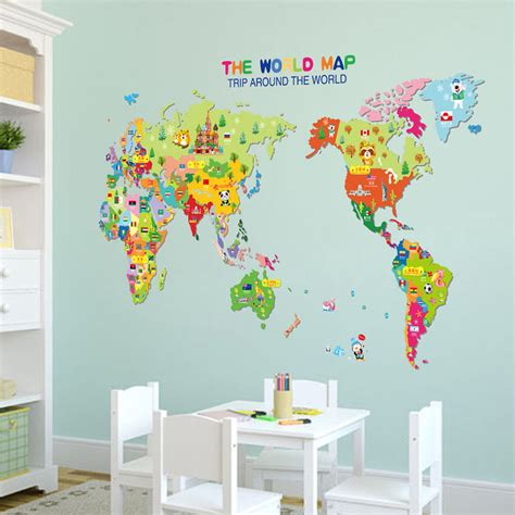 colorful world map wall sticker room