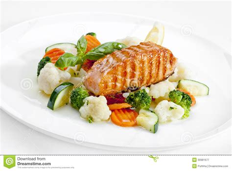 high quality food a tasty food grilled salmon and vegetables high quality image stock image image