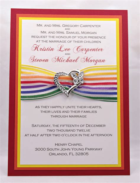 and cheery rainbow wedding invitations with by invitebling