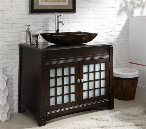 Adelina 38 inch Vessel Sink Bathroom Vanity, Dark Granite