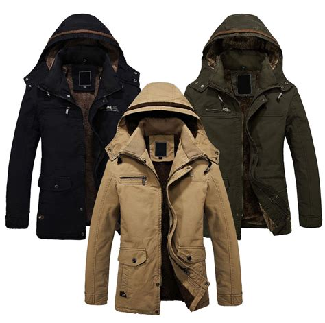 Outer Coat Jaket Wanita Outerwear Jaket mens winter jackets parka outerwear warm fur lined coat hooded ebay