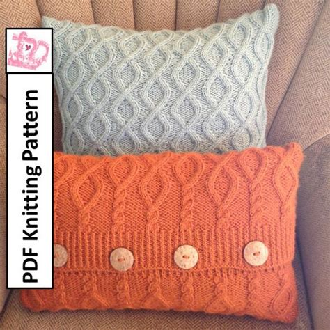 Knitting Pillow Patterns - cable knit pillow cover pattern pdf knitting pattern knitted